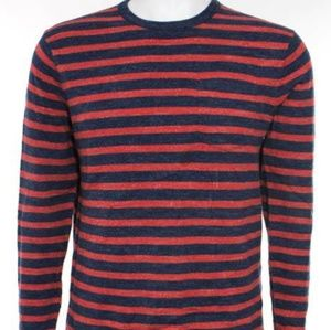 ❤J.Crew Mens Red and Blue Cotton Striped Sweater